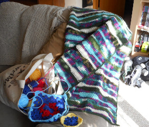 Finished the lap blanket; just getting started on the granny square afghan