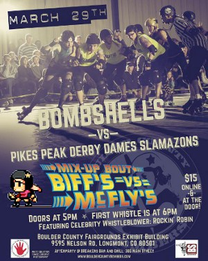 Poster for this Saturday's roller derby double header. Also, the Roller Derby 20XX sprite needs to be my new HabitRPG avatar.